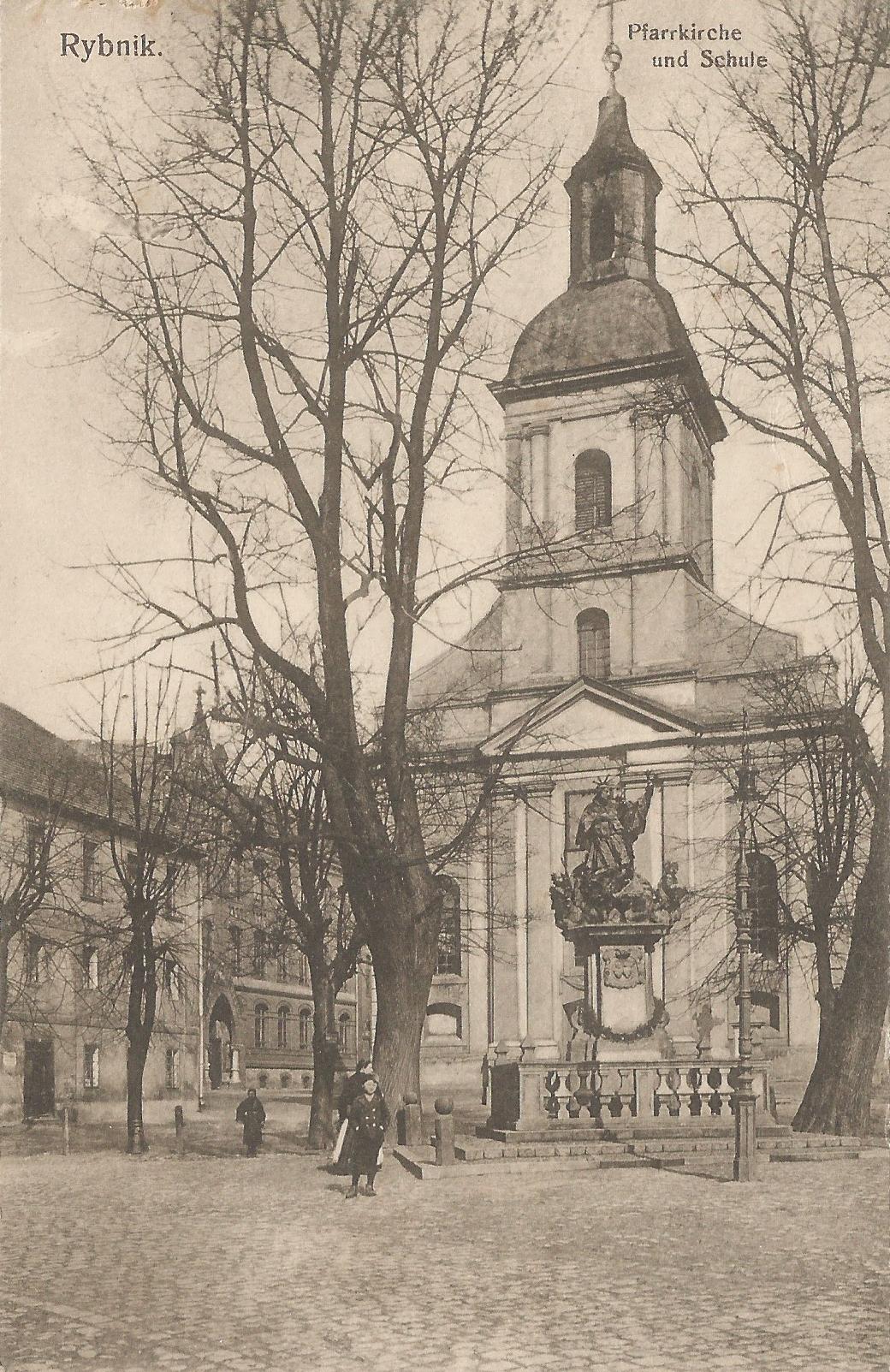 Rybnik - Pfarrkirche und Schule